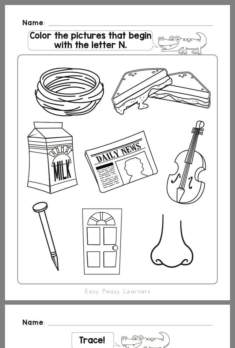 Pin by Violet Davalos on Kinder worksheets Letter n