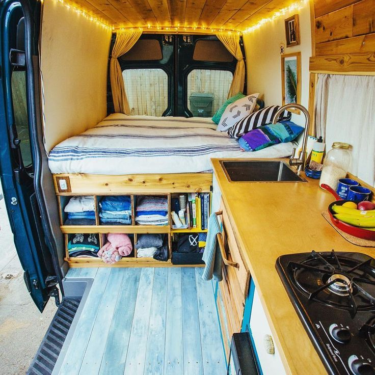 "Photo of Vanalog Vibes on Instagram: ""The interior.  #vanlife #tinyhouse #forsale #vanlifediaries #travel #adventuremobile #reclaimedwood #eco #offthegrid #sprintervan"""