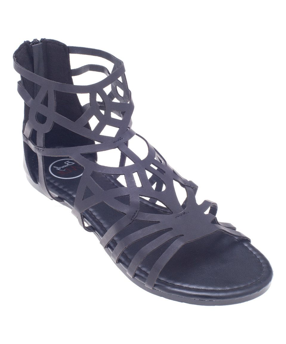 Loving this Beverly Mills Black Web Gladiator Sandal on #zulily! #zulilyfinds