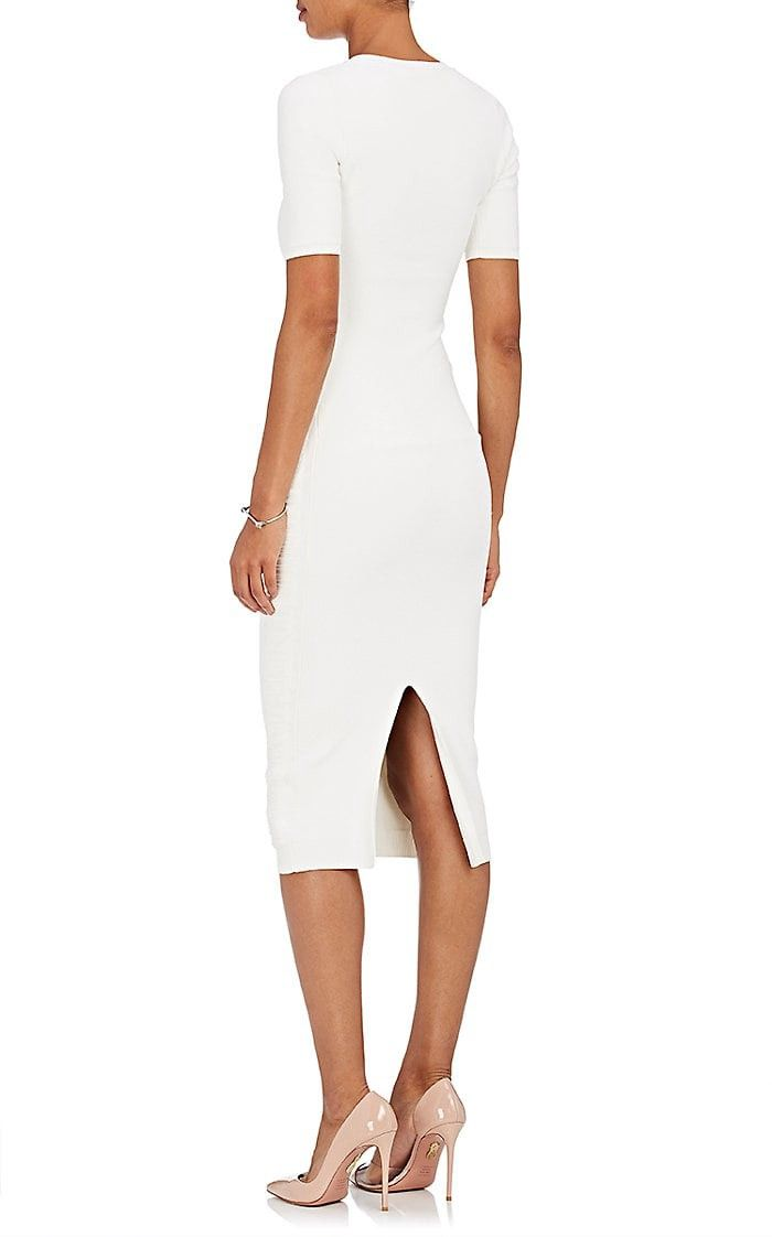 Photo of Victoria Beckham Crepe-Knit Fitted Dress – 1 Ivory