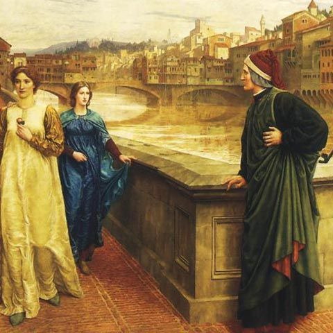 Dante sees Beatrice, the love of his life. She later appears to him as he goes through his experience in hell (inferno). This 1883 painting by Henry Holiday shows the famous Ponte Vecchio or Old Bridge of Florence in the background.