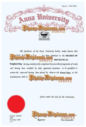 Anna University of Technology India Fake Diploma Sample from - first class degree