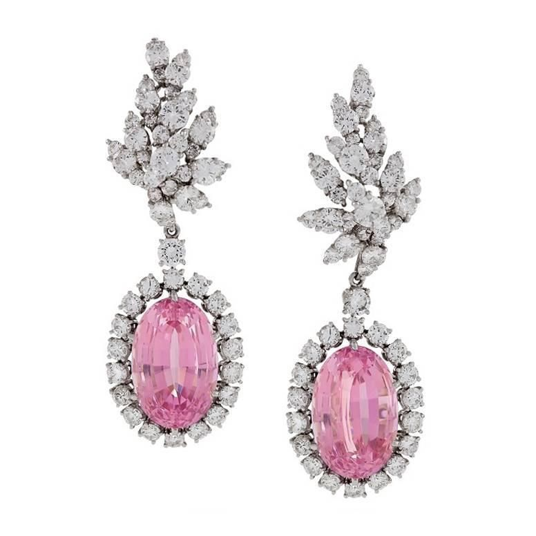 Verdura Late 20th Century Kunzite Diamond Platinum Earrings | From a unique collection of vintage drop earrings at https://www.1stdibs.com/jewelry/earrings/drop-earrings/