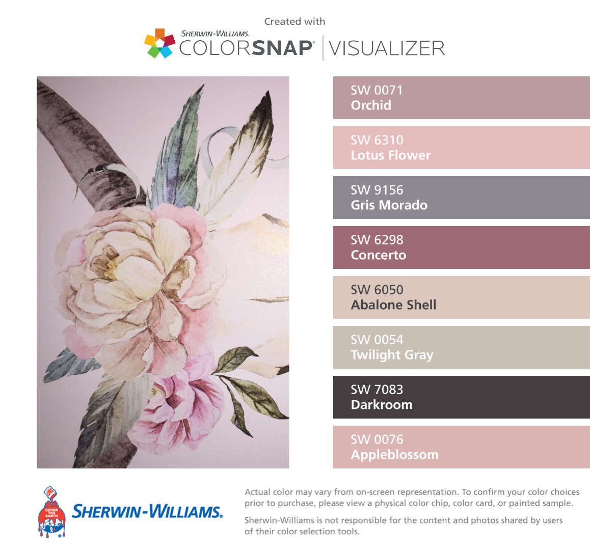 I found these colors with colorsnap visualizer for iphone by i found these colors with colorsnap visualizer for iphone by sherwin williams orchid sw 0071 lotus flower sw 6310 gris morado sw 9156 izmirmasajfo