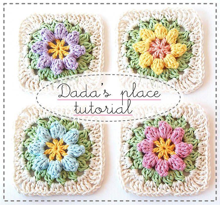 Dadas place free tutorial: Primavera Flowers Granny Square Tutorial ...