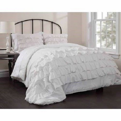 Ruffle Bedspread Comforter Set Queen Full Size White Chic Bed Shabby Pillow Sham With Images White Ruffle Bedding White Ruffle Comforter Comforter Sets