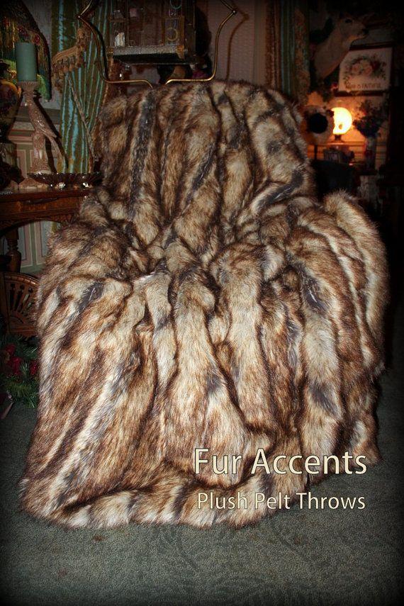 Tan Stripe Ribbed Mink Minky Cuddle Fur Lining Fur Accents USA Plush  Faux Fur Throw Blanket Bedspread Luxury Fur