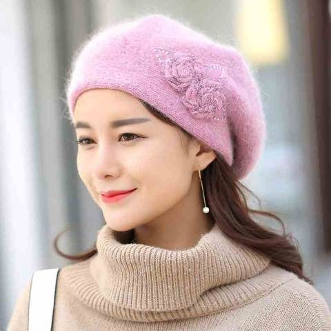 Fashion flower rabbit Fur beret hat for women warm knit hats winter wear 1850e8d26840