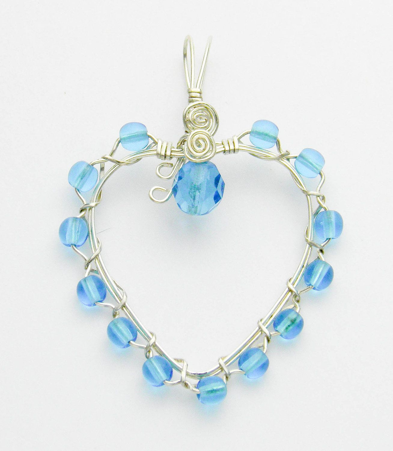Sterling Silver and Blue Beaded Heart Wire Wrapped Pendant | BEADING ...
