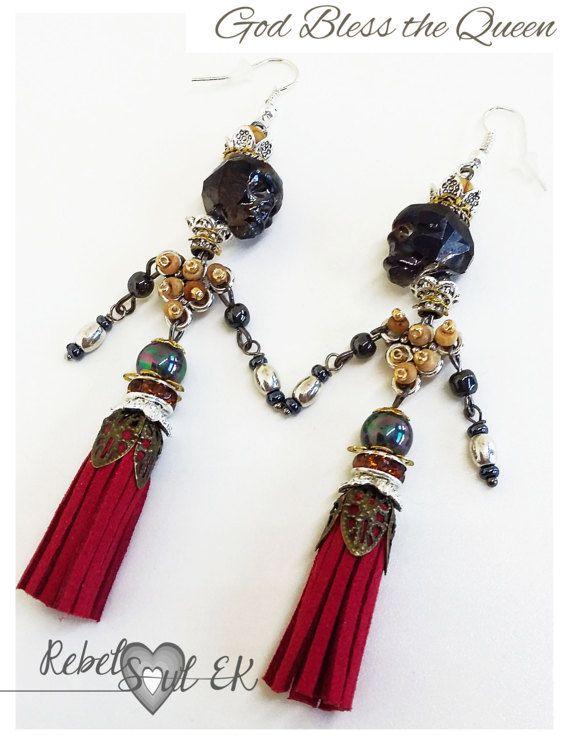 Long tassel earrings skull and crown Pirate Queen by RebelSoulEK