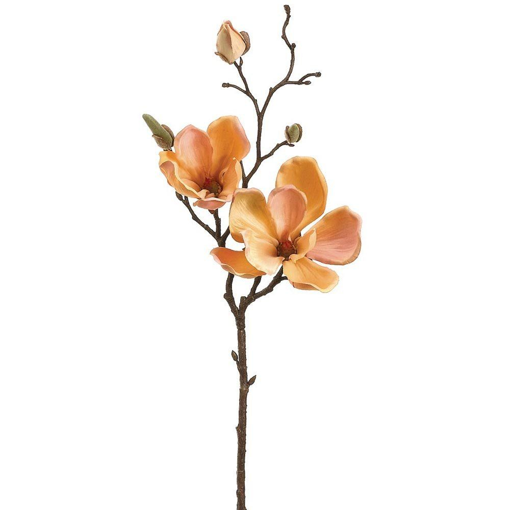 Peach Silk Flower Magnolia Branch 19 Magnolia Flower Artificial Plants Decor Magnolia Branch