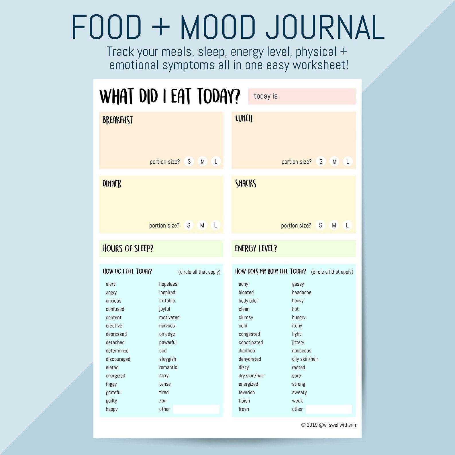 Printable Food Mood Journal Printable Worksheet For Meal