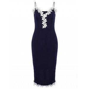 Choies Dark Blue Plunge Neck Crochet Trim Cami Midi Bodycon Dress