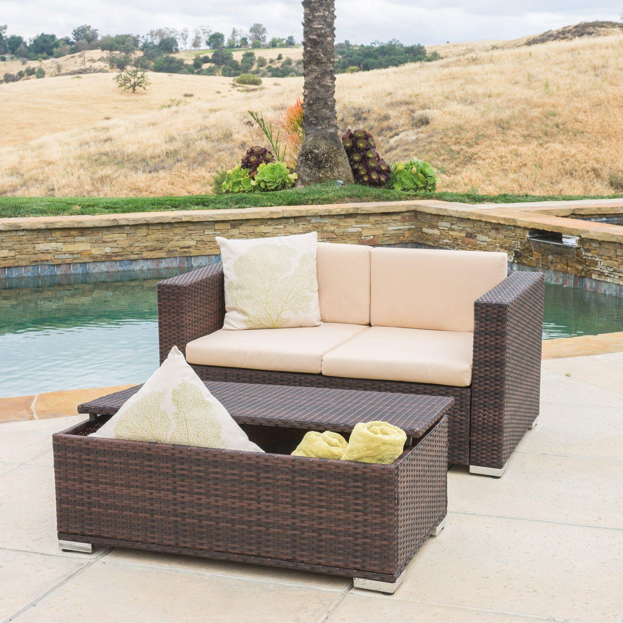 Westlake Outdoor Brown Pe Wicker Loveseat Ottoman Set Patio Sofa Set Conversation Set Patio Wicker Loveseat