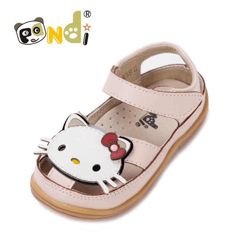 Baby girl leather cat head #Sandals