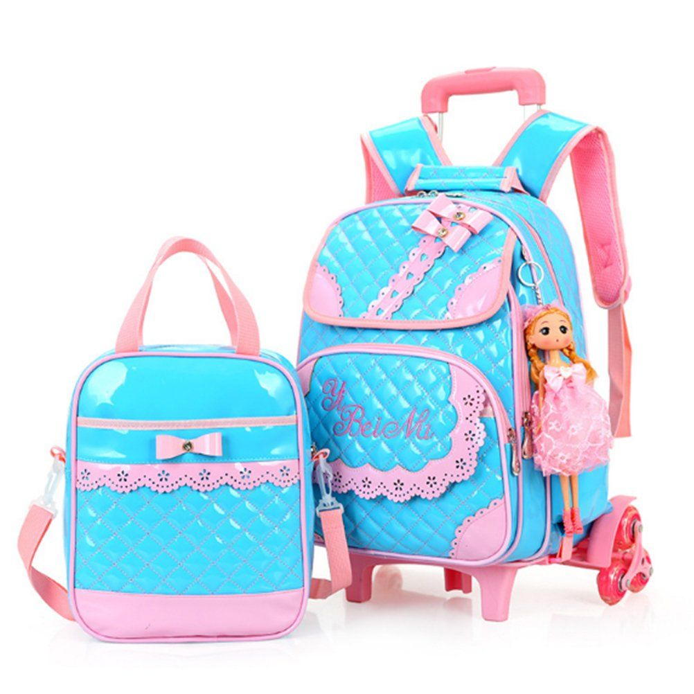 2pcs Bowknot Rolling Backpack Cute School Backpack Kids Backpack