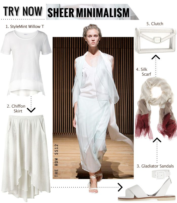Inspired by The Row's 2012 SS collection, sheer minimalism.