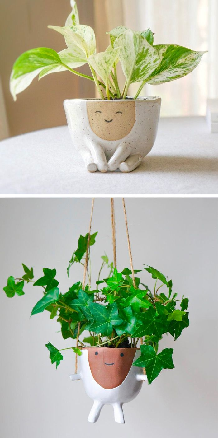 Houseplants Become Hairstyles For Smiling Anthropomorphic Planters