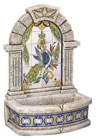 Fuentes de pared con azulejos Mi jardin Pinterest Fountain