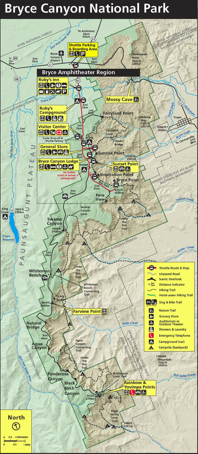Bryce National Park Map Bryce Canyon National Park Map