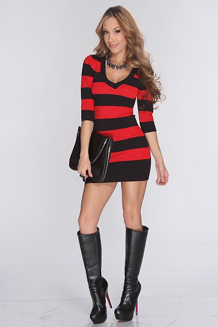 Red Black Shimmery Striped Sexy Sweater Dress | Clothes ...