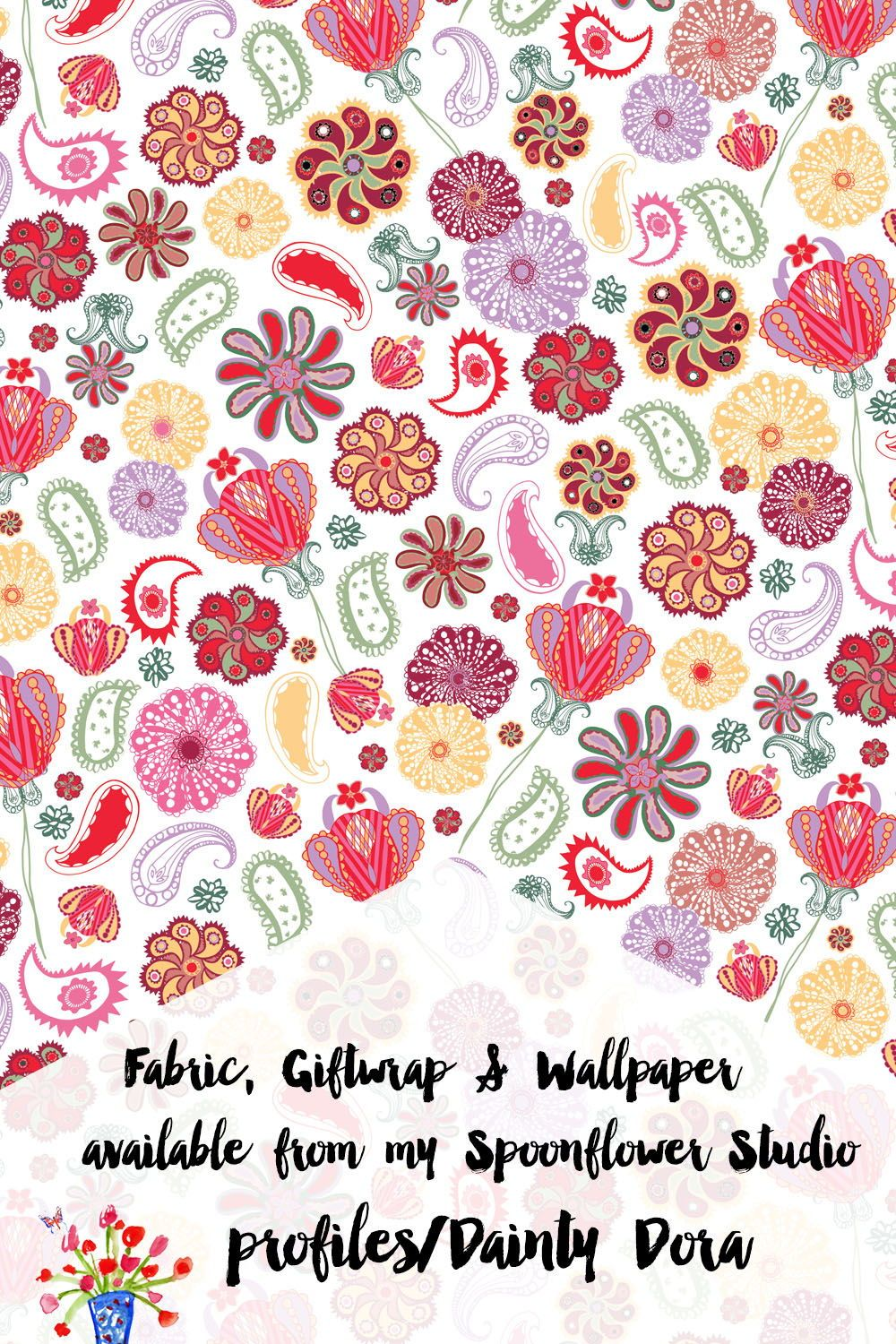 Colorful Fabrics Digitally Printed By Spoonflower Paisley Blooms