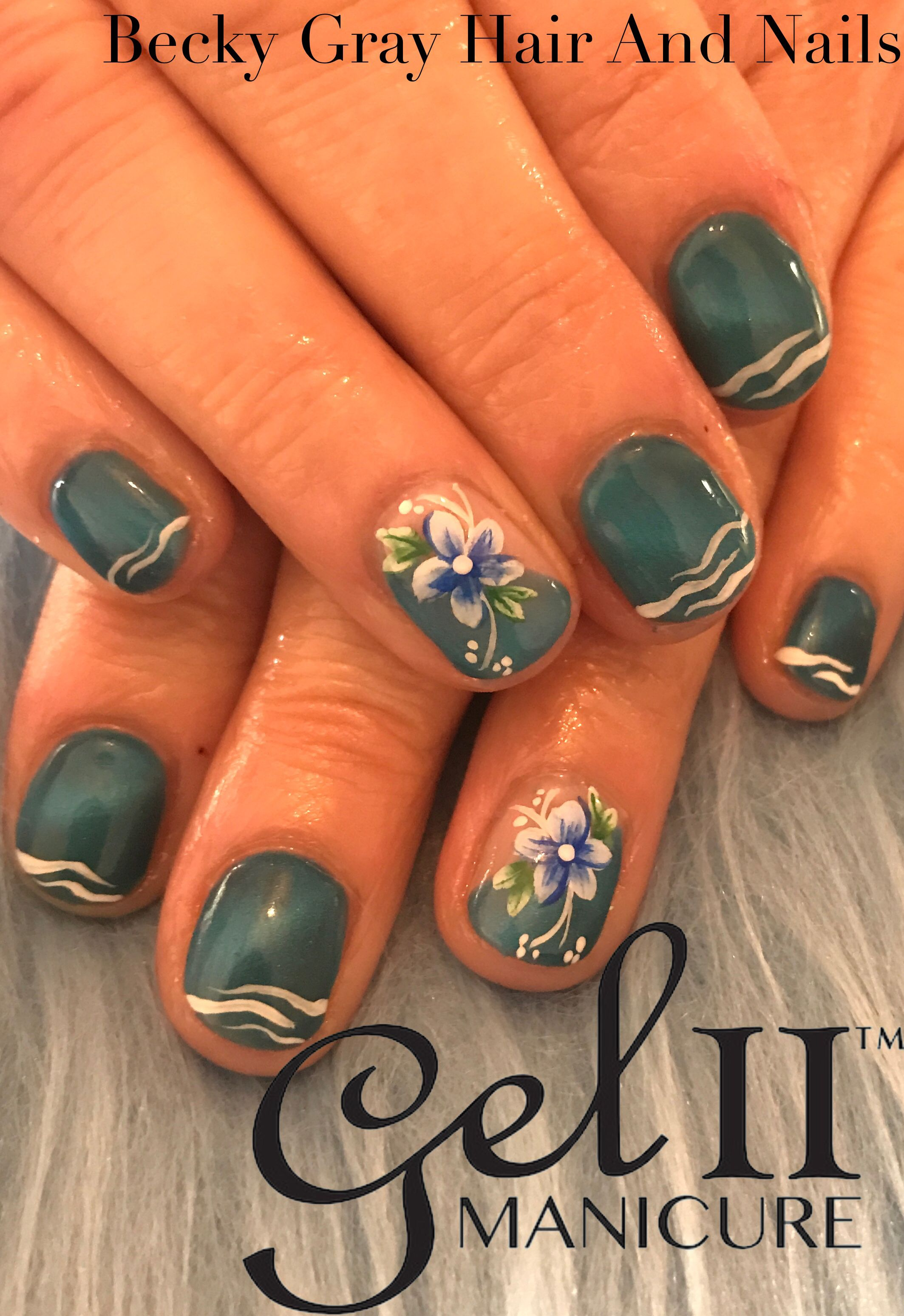 Gel ii manicure sassy sapphire with hand painted nail art #gelii ...