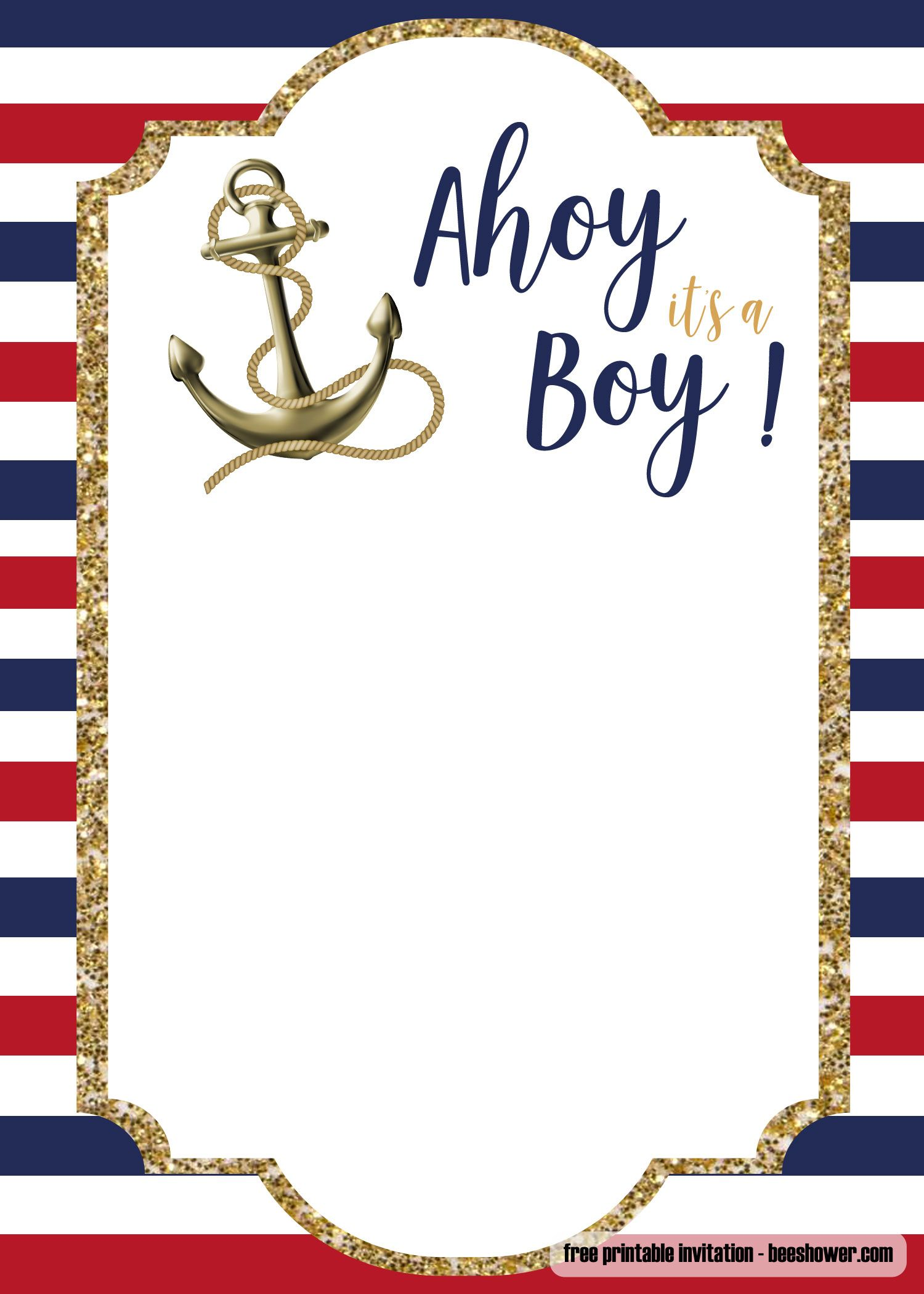 FREE Nautical Baby Shower Invitations Templates  Nautical baby