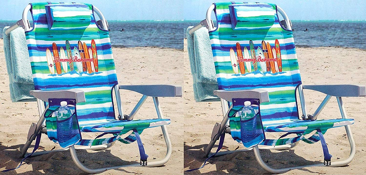 Tommy Bahama 2 Backpack Beach Chair Green Stripe (PACK OF