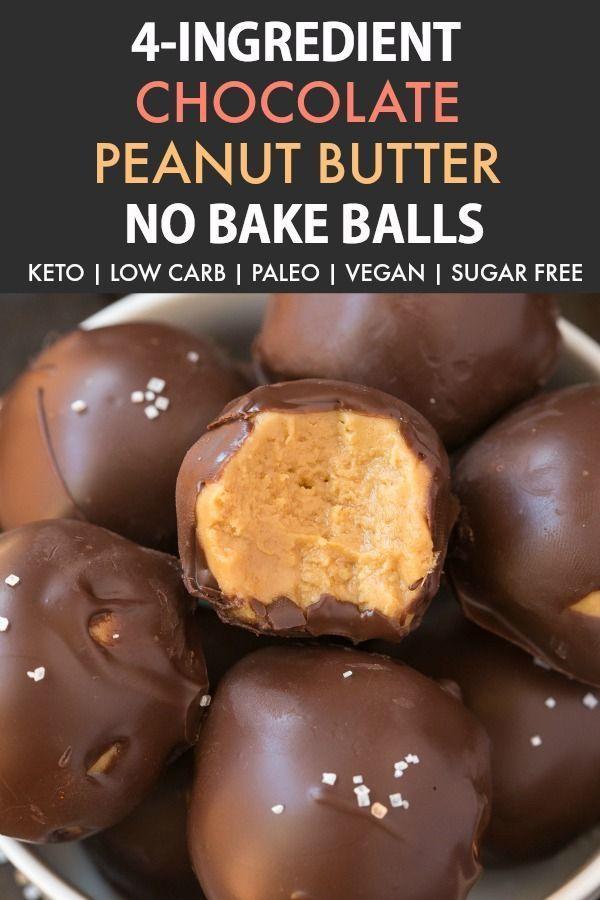 Photo of 4-Ingredient No Bake Keto-Schokoladen-Erdnussbutter-Bällchen (Paleo, Vegan, Low…