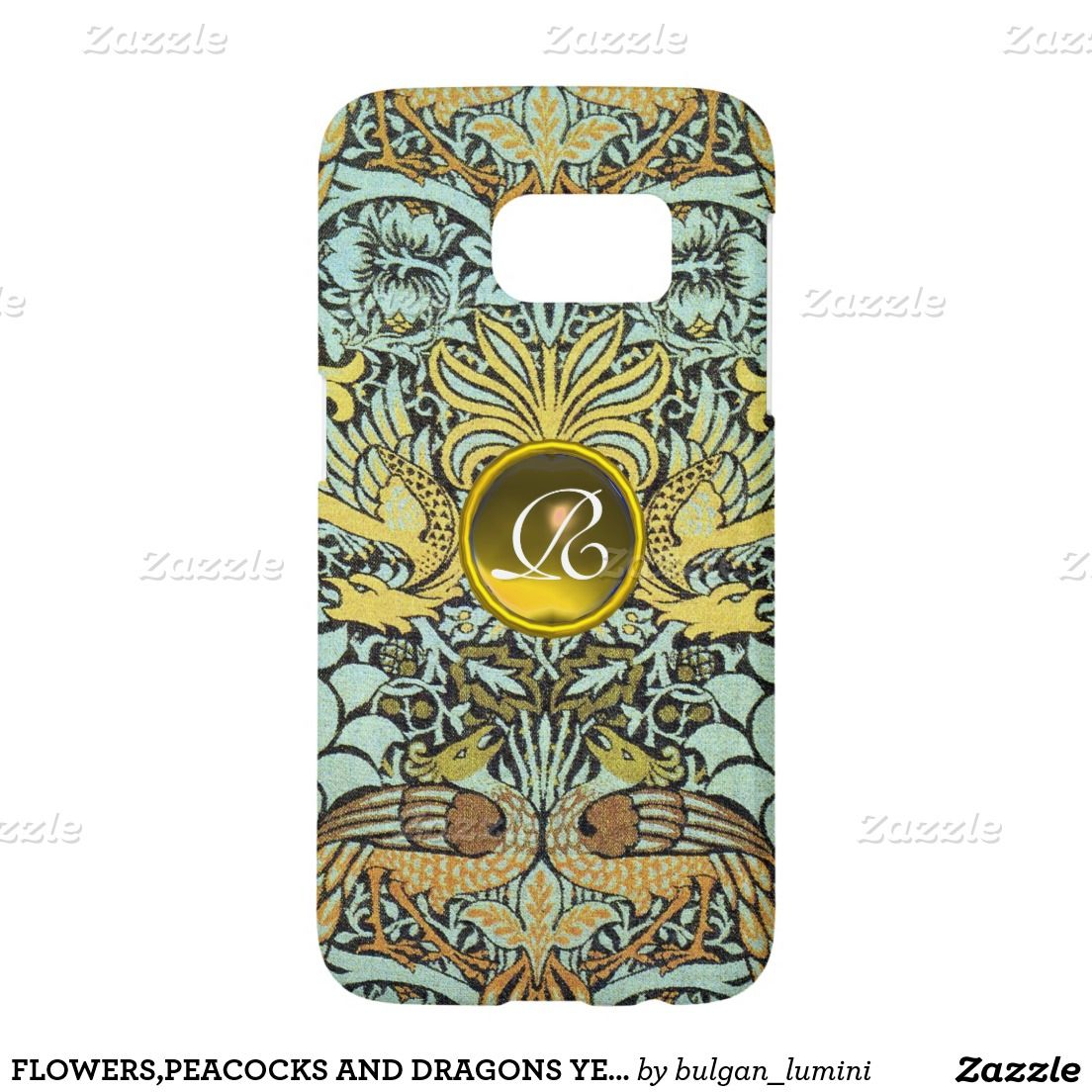 FLOWERS,PEACOCKS AND DRAGONS YELLOW GEM MONOGRAM SAMSUNG GALAXY S7 CASE