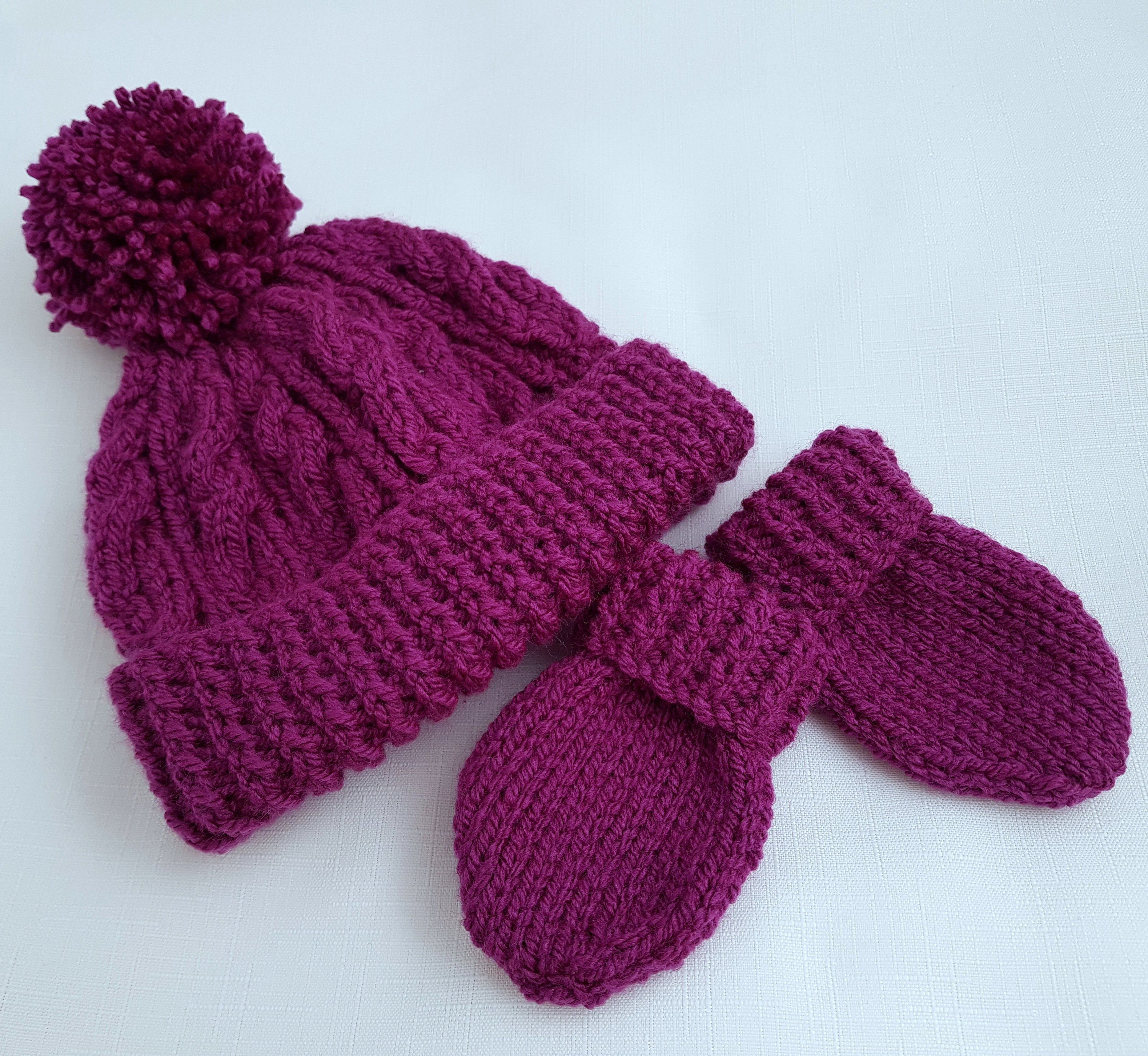 Photo of Baby Knitted Hat & Mittens – Handmade Baby Girls Gift  Knitted Bobble Hat – Knitted Baby Mittens  Gifts for Baby  6-12 Months Ready to Ship