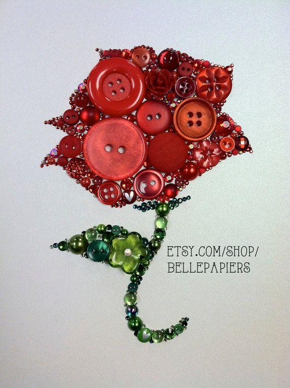 Button Art Button Rose & Swarovski Rhinestones Red Rose Unique Gift  #buttonart #buttons #swarovski #handmade #crafts #diy #art #rose #redrose #love #flowers