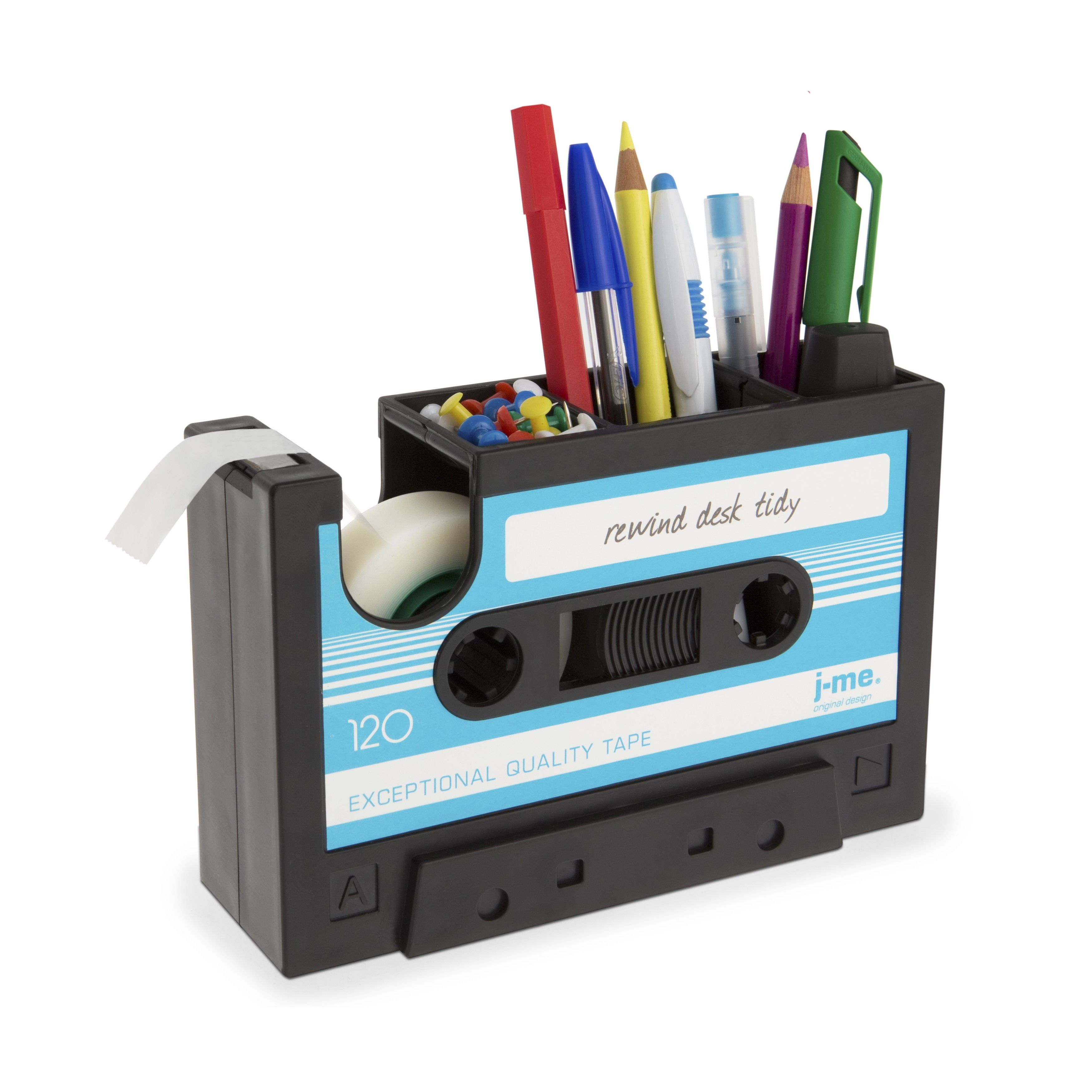 cool things for an office. What A Groovy Idea For Storage On Your Desk! J-ME Rewind Desk Tidy Office Stationery Organiser Cassette Tape Dispenser Cool Things An