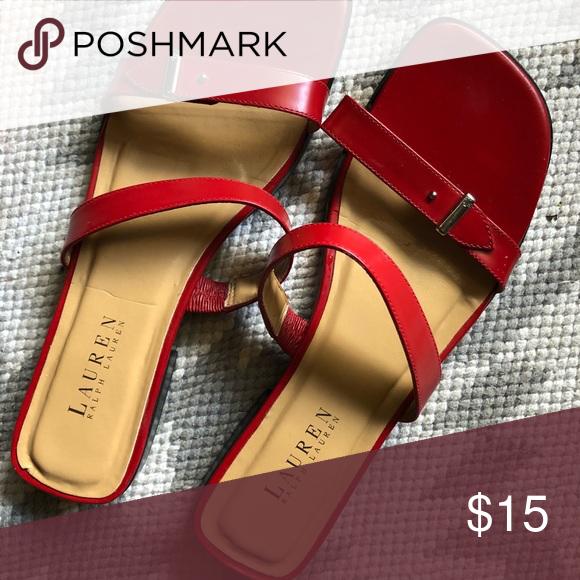 Ralph Lauren red strap sandals | Ralph