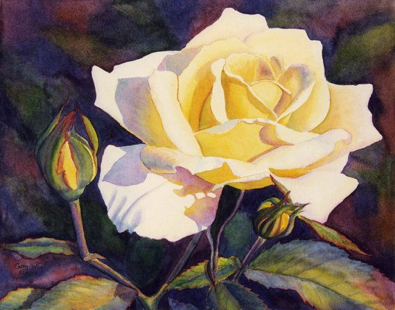 Yellow Rose art watercolor painting print by Cathy Hillegas, yellow, lilac, green, 8x10, floral,yellow, purple, green