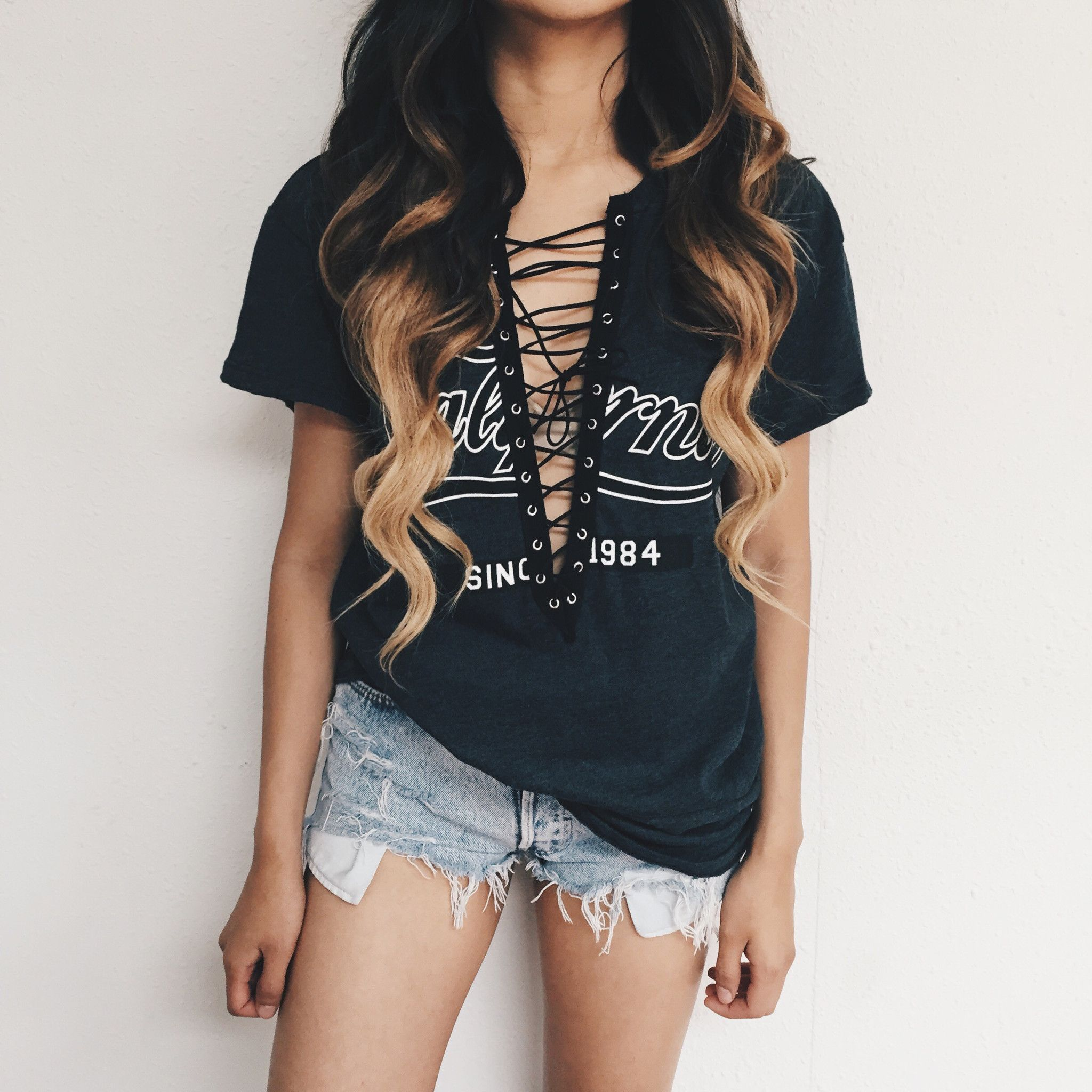 Black t shirt with lace - Janel California Lace T Shirt Black