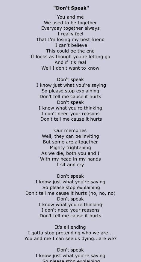 I Don T Wanna Be Your Best Friend Lyrics : wanna, friend, lyrics, Don't, Speak, Lyrics, Doubt, Music, Quotes, Lyrics,, Songs