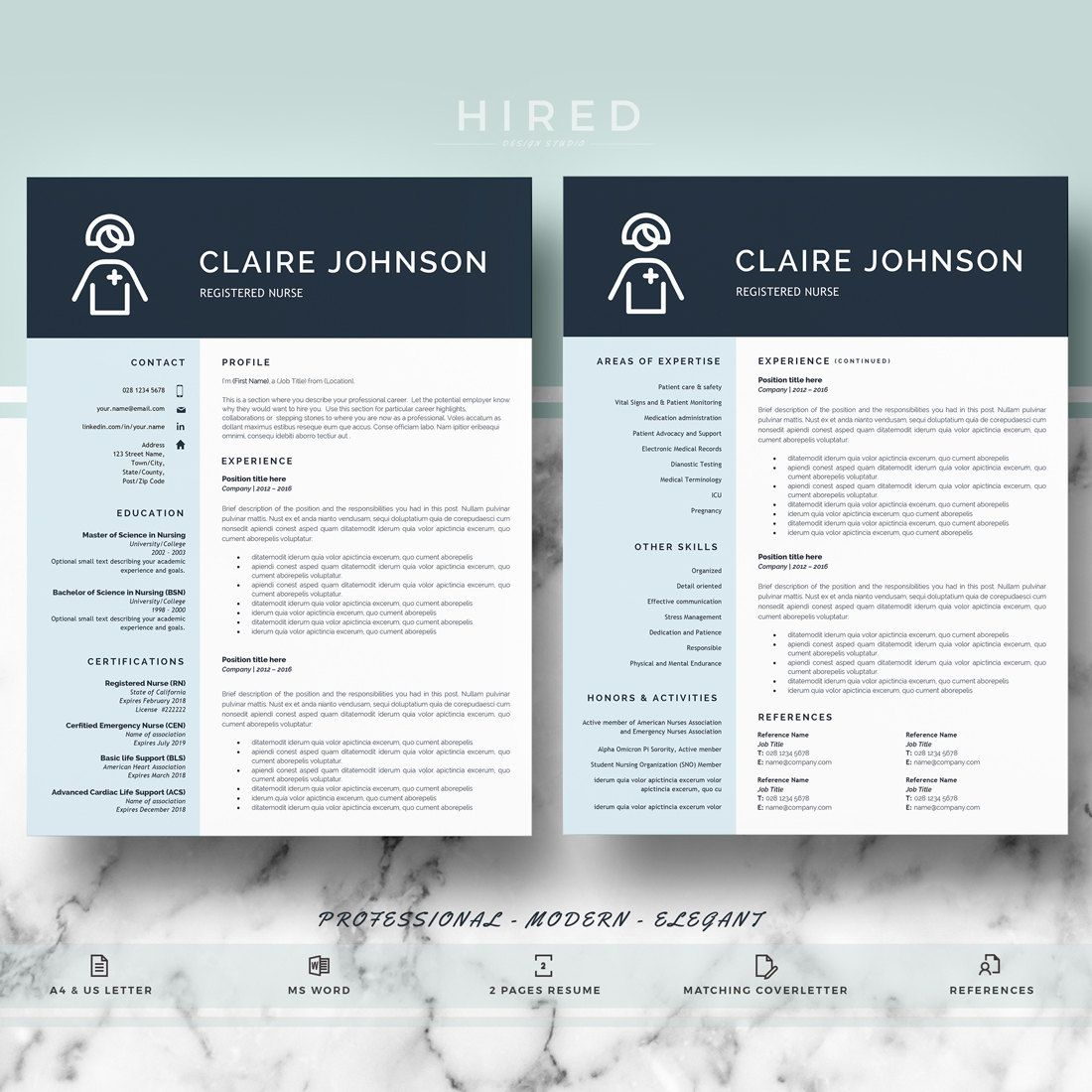 Nurse Resume Template For Word Claire   Editable  Instant