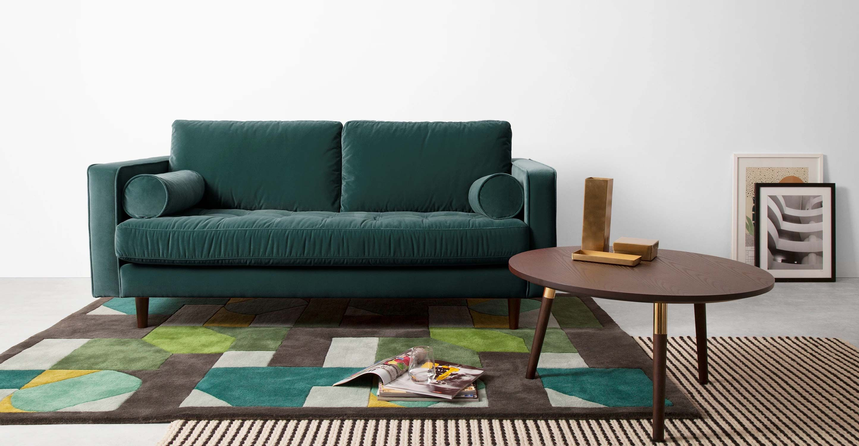 Scott large 2 seater sofa upholstered in a plush cotton velvet in a rich petrol