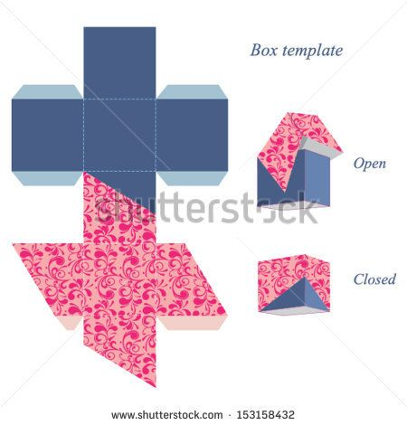 Interesting square box template with lid, floral pattern. Vector illustration. by JeyArt, via Shutterstock
