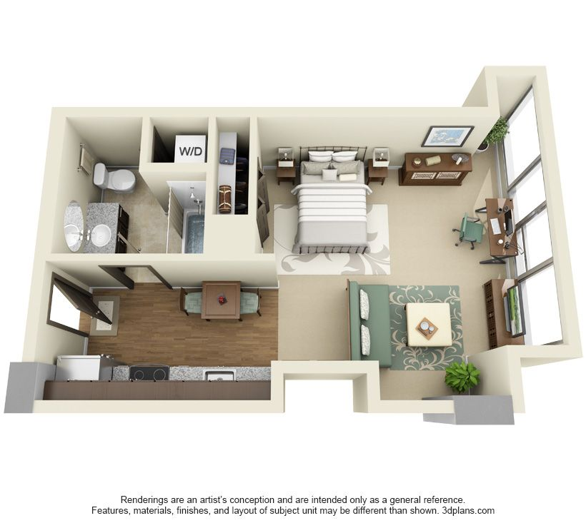 Studio apartment floor plans furniture layout google for Studio apartment design 3d