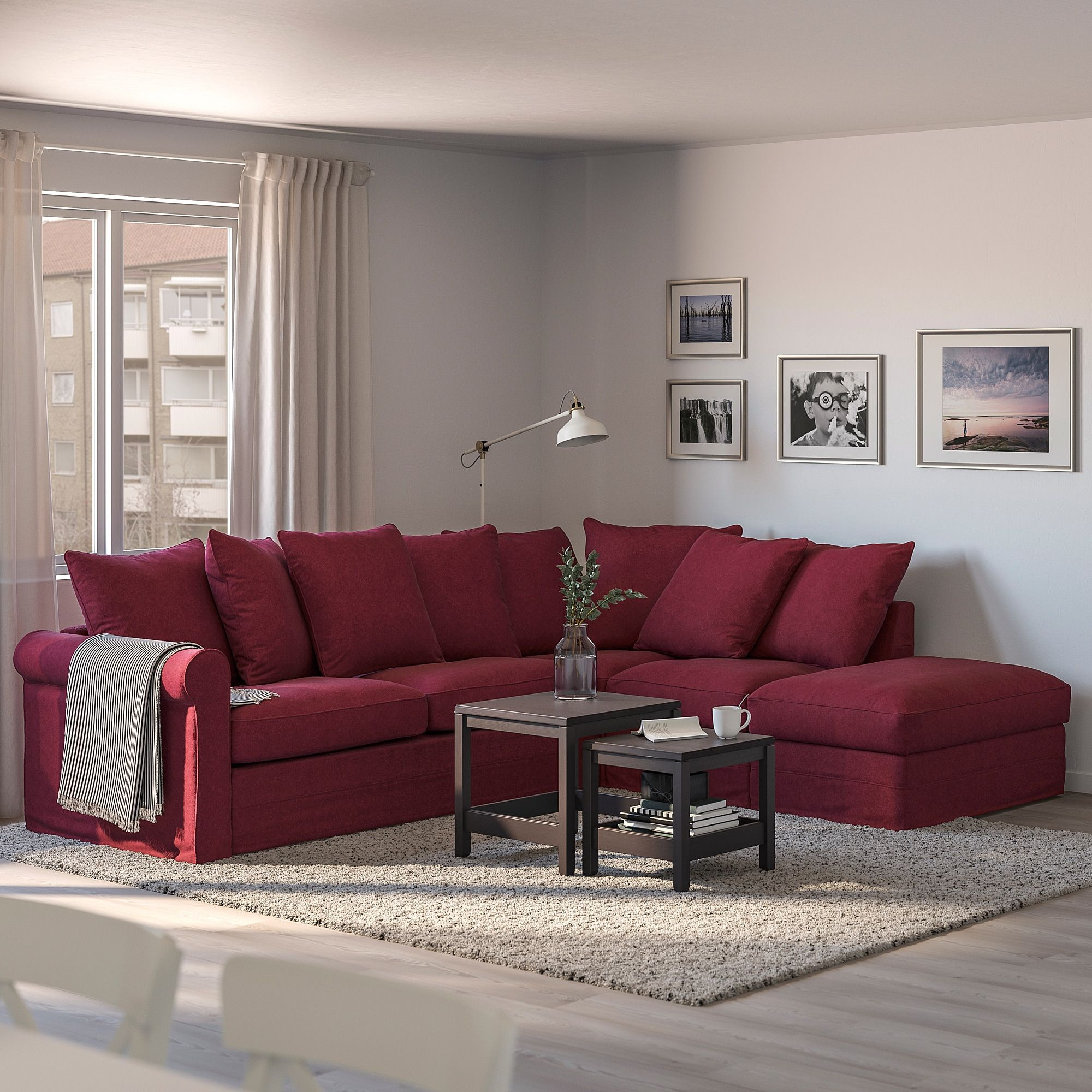 GRÖNLID Corner sofabed, 4seat, with open end/Tallmyra