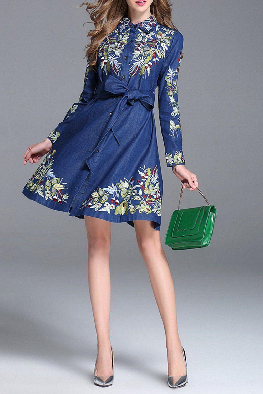 Embroidered Denim A Line Dress