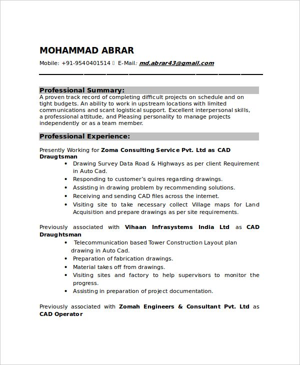 draftsman resume templates free word pdf document downloads - mechanical engineering resume template