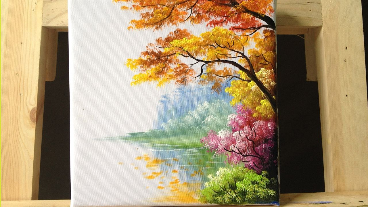 how to paint trees and bushes in acrylics part 2 acryl