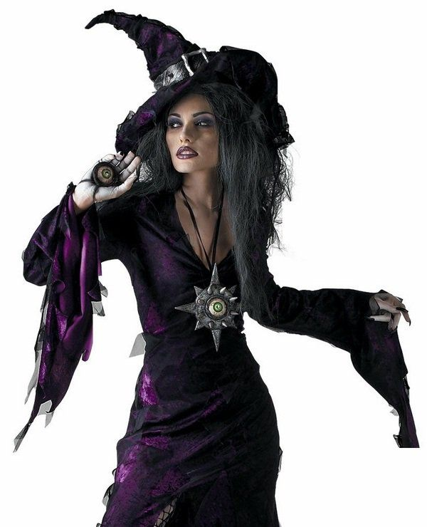 witch halloween costume black purple pointed hat black nail polish - Spider Witch Halloween Costume