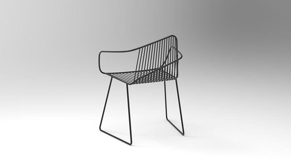 Sgabello Framar ~ Bright potatos arno wireframe chair features expressive lines