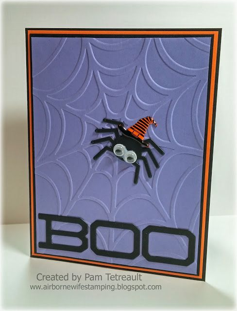 "airbornewife's stamping spot: ""BOO"" Spider Web & Spider in Witches Hat card"