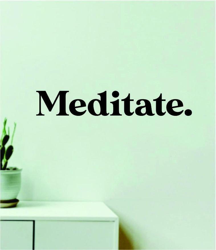 Meditate Wall Decal Sticker Quote Vinyl Art Wall Bedroom Room Home Decor Inspirational Girls Motivational Yoga Namaste Relax - purple
